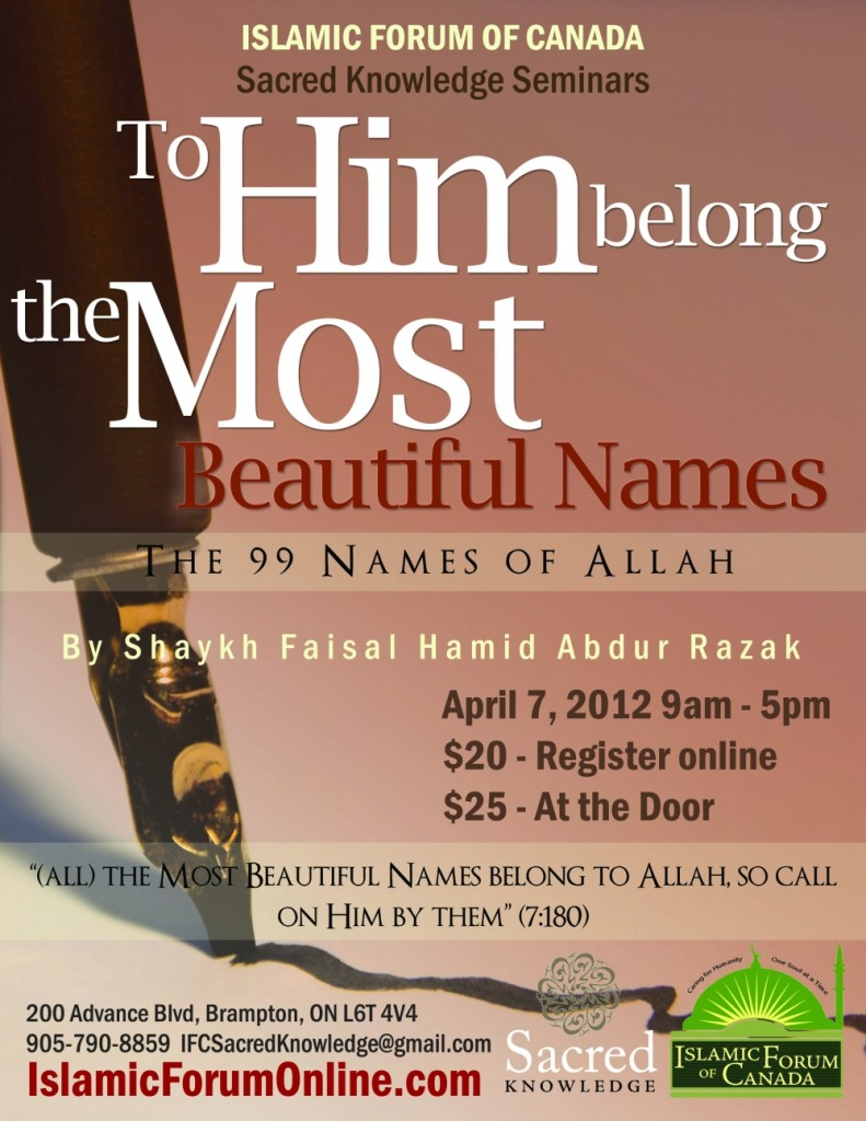 Sacred Knowledge Seminar 12 - 99 Names of Allah